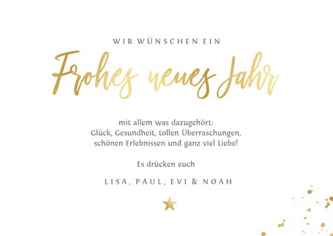 Neujahrskarte Fotocollage Rot & Gold 3