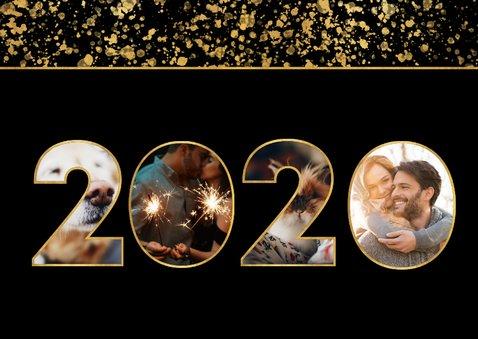 Neujahrskarte gold Fotocollage 2020 2