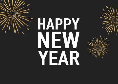 Neujahrskarte Typografie, Foto und Feuerwerk 2