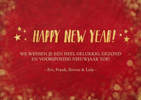 Nieuwjaars fotocollage kaart met rood en goud 3