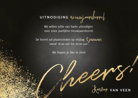 Nieuwjaarsborrel uitnodiging fotocollage, cheers en spetters 3