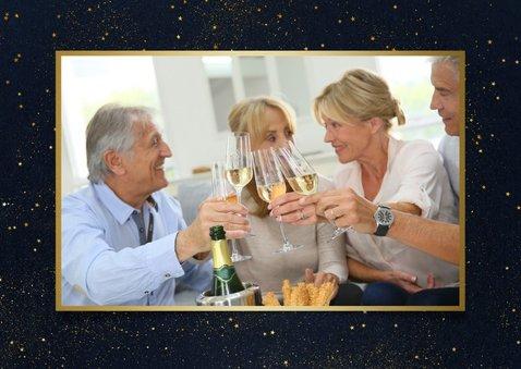 Nieuwjaarsborrel uitnodiging met foto - zwart en goud 2