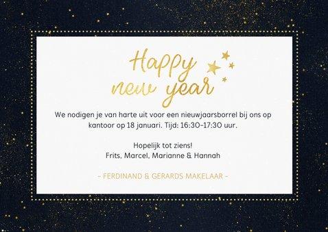 Nieuwjaarsborrel uitnodiging met foto - zwart en goud 3