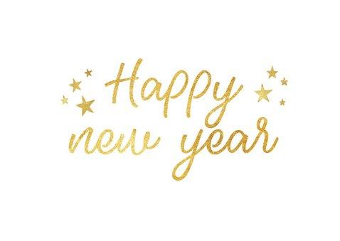 Nieuwjaarsborrel uitnodigingskaart zwart met goud 2