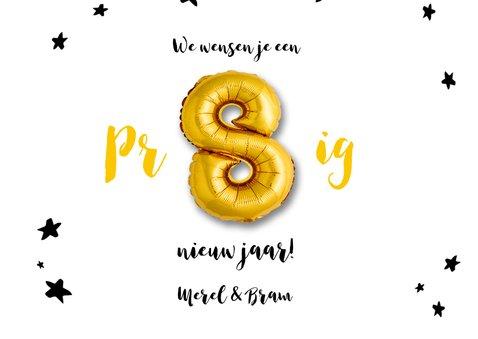 Nieuwjaarskaart 2019 ballonnen goud met sterren 3