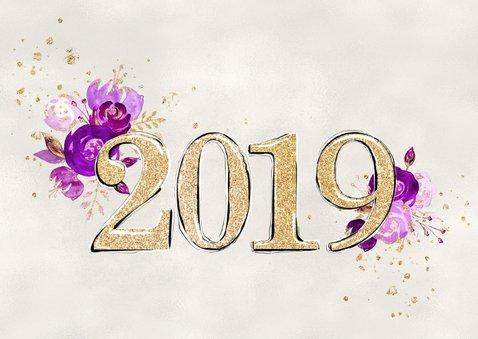 Nieuwjaarskaart 2019 in goud met bloemen 2