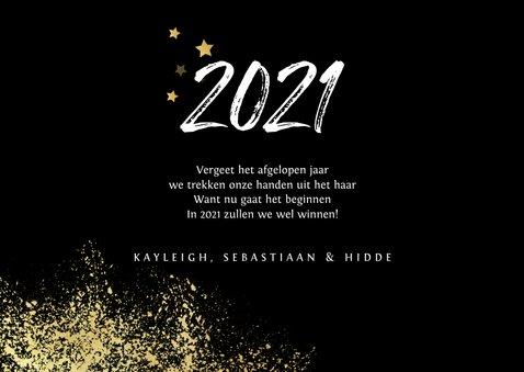 Nieuwjaarskaart 2021 stijlvol goud spetters vuurwerk 3