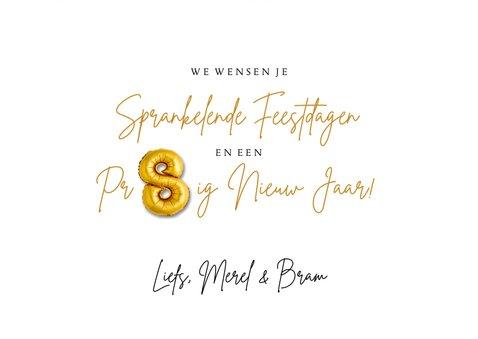Nieuwjaarskaart 2022 hout met ballonnen goud 3