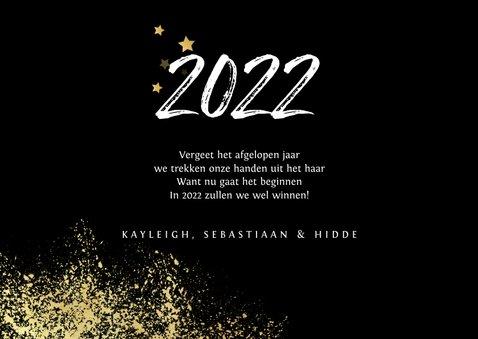 Nieuwjaarskaart 2022 stijlvol goud spetters vuurwerk 3
