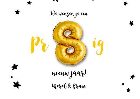 Nieuwjaarskaart  ballonnen goud met sterren 3