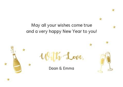 Nieuwjaarskaart champagne fles typografie goudlook 3