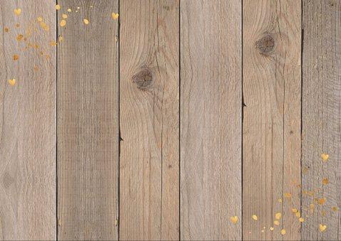 Nieuwjaarskaart foto confetti goudlook hout krijtbord 2