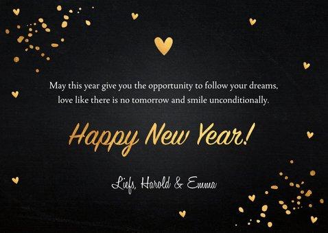 Nieuwjaarskaart foto confetti goudlook hout krijtbord 3