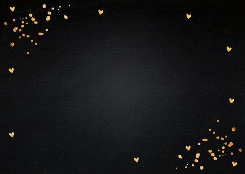 Nieuwjaarskaart foto confetti goudlook hout krijtbord Achterkant