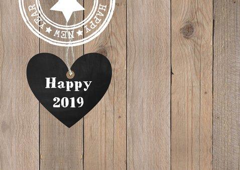 Nieuwjaarskaart foto hout hartje krijtbord 2