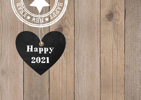 Nieuwjaarskaart foto houtlook hartje stempels 2