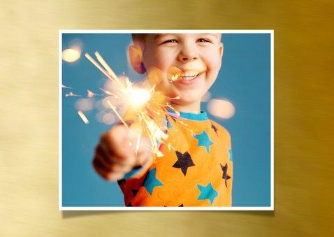 Nieuwjaarskaart foto op goud kader 2