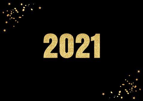 Nieuwjaarskaart fotocollage confetti hartje goudlook 2