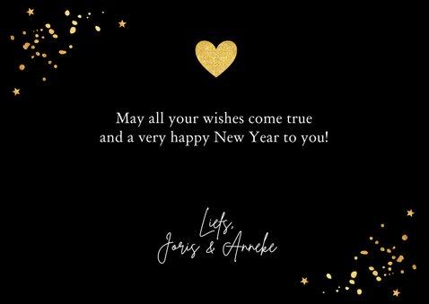 Nieuwjaarskaart fotocollage confetti hartje goudlook 3
