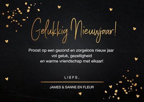 Nieuwjaarskaart fotocollage gouden confetti 3