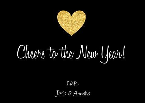 Nieuwjaarskaart fotocollage hartje goud 3