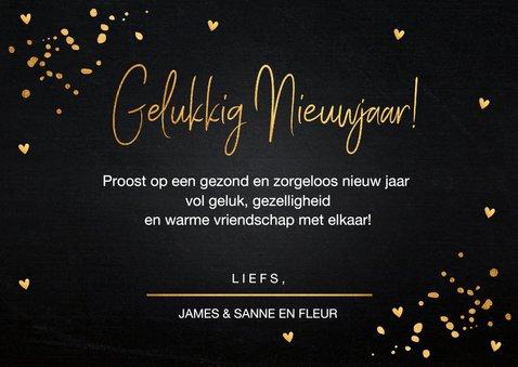 Nieuwjaarskaart fotocollage zwart goudlook confetti hartjes 3