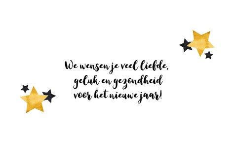 Nieuwjaarskaart gouden tekst met sterren 3