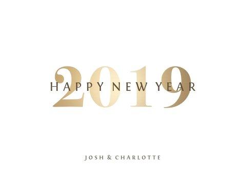 Nieuwjaarskaart goudlook '2019' fotocollage 3 foto's 3