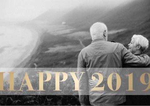 Nieuwjaarskaart 'Happy 2019' stijlvol goud 2