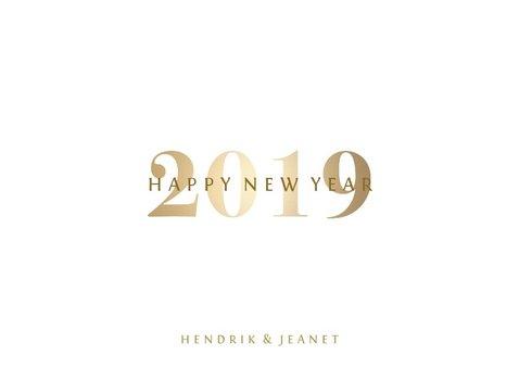 Nieuwjaarskaart 'Happy 2019' stijlvol goud 3