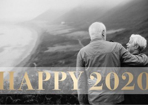 Nieuwjaarskaart 'Happy 2020' stijlvol goud 2