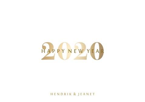 Nieuwjaarskaart 'Happy 2020' stijlvol goud 3