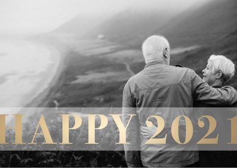 Nieuwjaarskaart 'Happy 2021' stijlvol goud 2