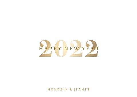 Nieuwjaarskaart 'Happy 2022' stijlvol goud 3