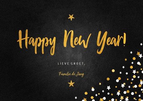 Nieuwjaarskaart happy new year krijtbord met confettikader 3