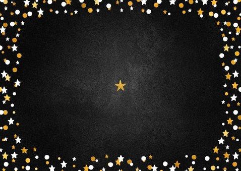 Nieuwjaarskaart happy new year krijtbord met confettikader Achterkant