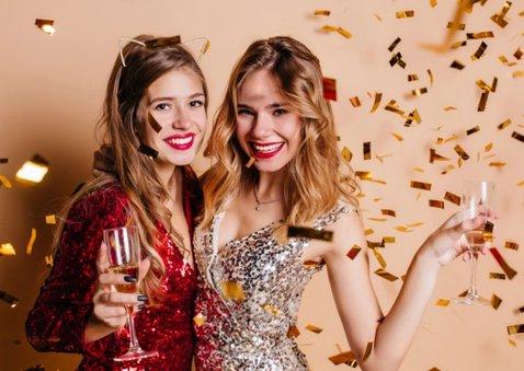 Nieuwjaarskaart Happy New Year wit met goud 2