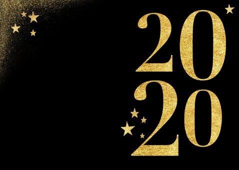Nieuwjaarskaart in goud 2020 en sterren zwart stijlvol 2