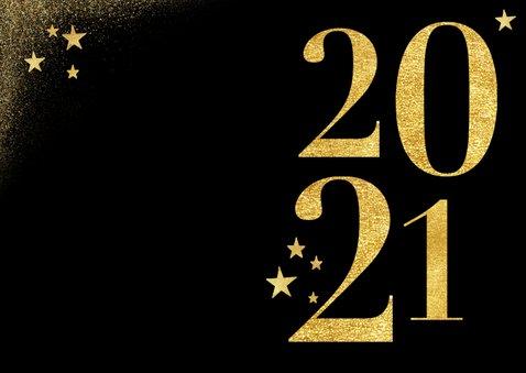 Nieuwjaarskaart in goud 2021 en sterren zwart stijlvol 2