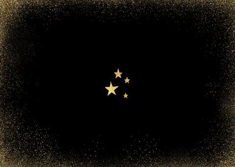 Nieuwjaarskaart in goud 2021 en sterren zwart stijlvol Achterkant