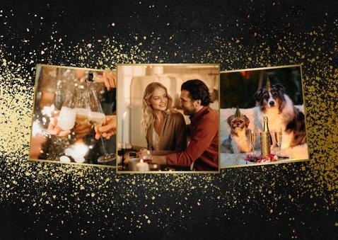 Nieuwjaarskaart met 2 foto's goudlook 2021 en spetters 2