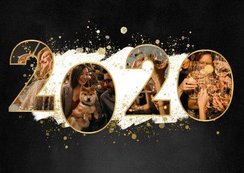 Nieuwjaarskaart met 2020 fotocollage, witte verf en spetters 2