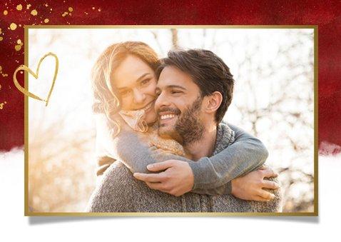 Nieuwjaarskaart met foto & nieuwjaarsknuffel in gouden hart 2