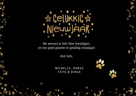 Nieuwjaarskaart met foto huisdier en honden pootafdrukjes  3