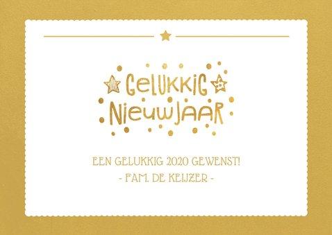 Nieuwjaarskaart met foto op de achtergrond en gouden vlak 3