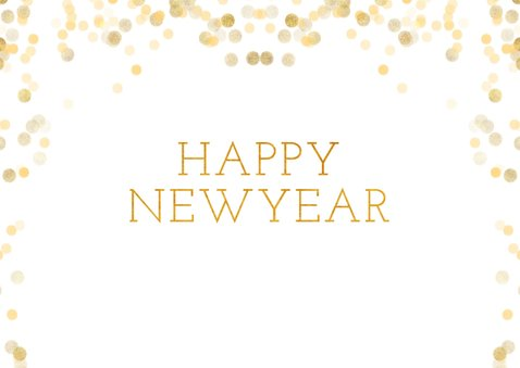 Nieuwjaarskaart met fotocollage en happy new year 2