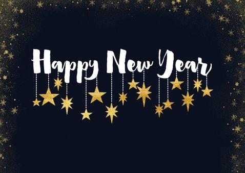 Nieuwjaarskaart met foto's, typografie en hangende sterren 2