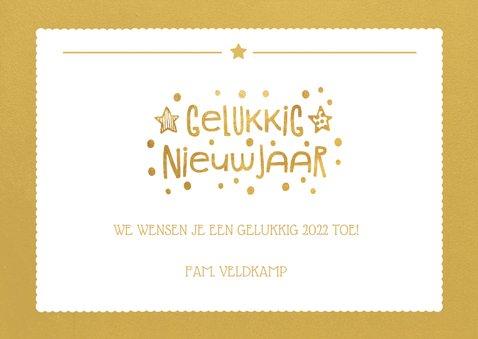 Nieuwjaarskaart met goudlook vlak en foto achtergrond 3