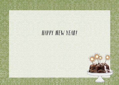 Nieuwjaarskaart met hertjes aan een gezellige tafel 3