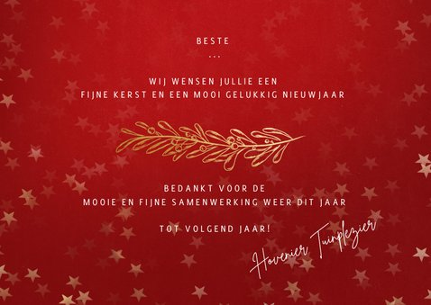 Nieuwjaarskaart rood gouden sterren - een gouden kerst 3